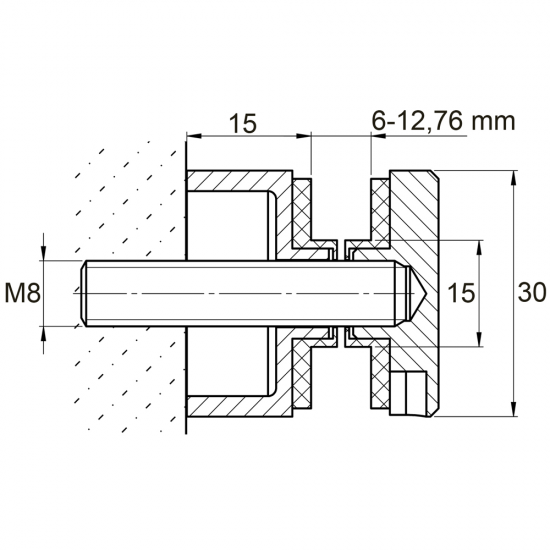 Conector lateral din inox pentru prinderea sticlei de 6 - 12,76 mm, distantier de 15 mm, diametru Ø 30 mm E746