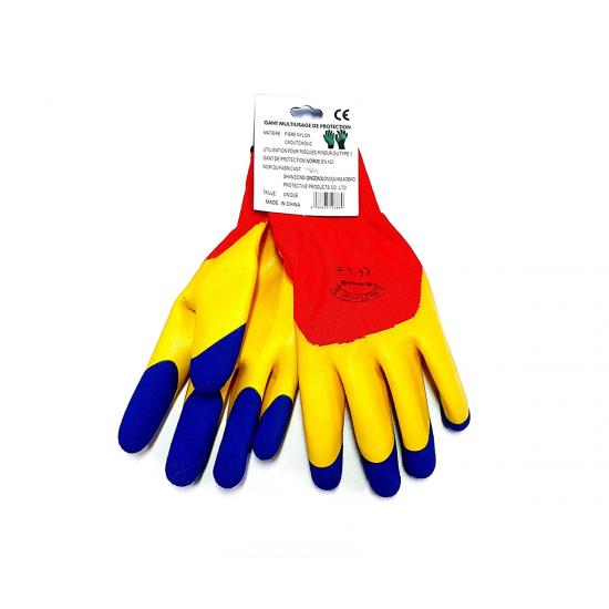 Manusi protectie antiintepatura, tricolore, material textil si latex, mansete elastice