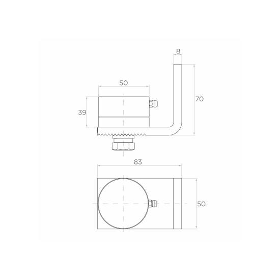 Balama inferioara cu rulment si placa de fixare reglabila diametru 50 mm