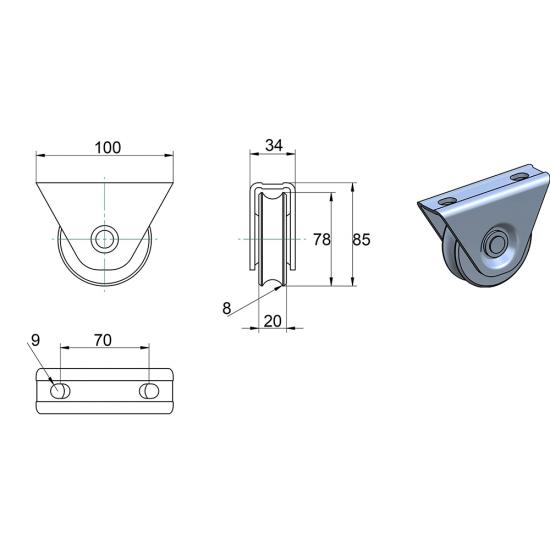 Rola aplicata pentru poarta culisanta profil U diametru 80 mm